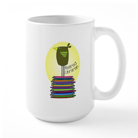 retired librarian BOOK BIRD 2 Large Mug