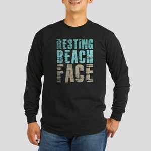 Resting Beach Face Color Long Sleeve Dark T-Shirt