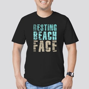 Resting Beach Face Col Men's Fitted T-Shirt (dark)