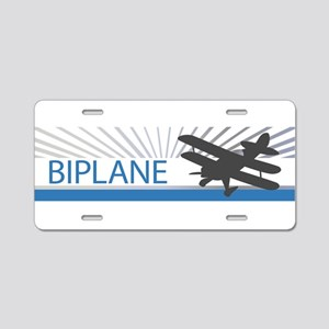 Aircraft Biplane Aluminum License Plate
