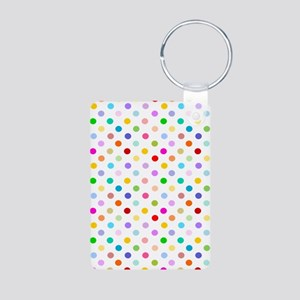 Rainbow Polka Dots Aluminum Photo Keychain