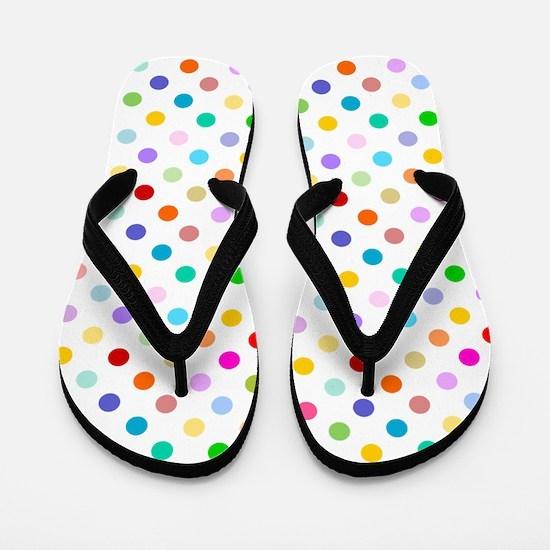 Rainbow Polka Dots Flip Flops