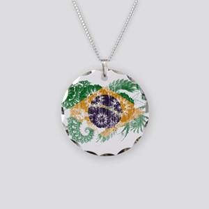 Brazil Flag Necklace Circle Charm
