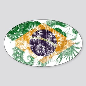 Brazil Flag Sticker (Oval)