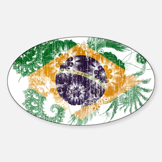 Brazil Flag Sticker (Oval)