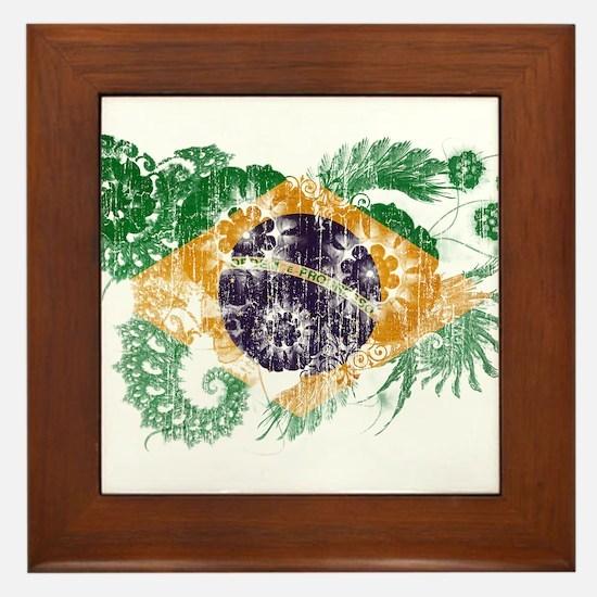 Brazil Flag Framed Tile