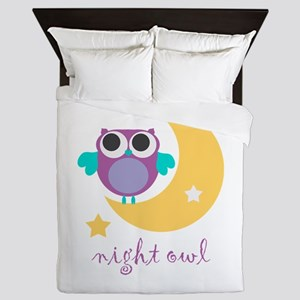 night owl with moon and star Queen Duvet