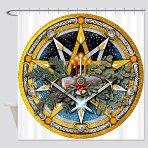 Yule Pentacle Shower Curtain