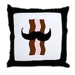 Moustache Bacon Throw Pillow