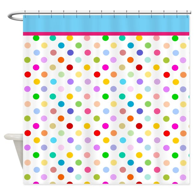 rainbow polka dots shower curtain by inspirationzstore. Black Bedroom Furniture Sets. Home Design Ideas
