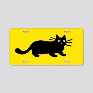 Black Cat Aluminum License Plate
