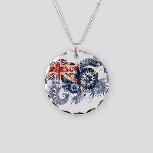 Cook Islands Flag Necklace Circle Charm