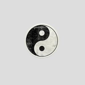 Distressed Yin Yang Symbol Mini Button