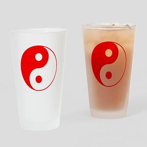 Red Yin Yang Drinking Glass