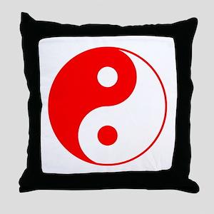 Red Yin Yang Throw Pillow