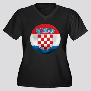 Croatia Football Women's Plus Size V-Neck Dark T-S