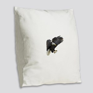 Bald Eagle Flying Burlap Throw Pillow