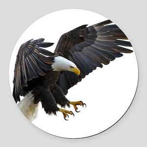 Bald Eagle Flying Round Car Magnet