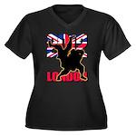Deviross Women's Plus Size V-Neck Dark T-Shirt
