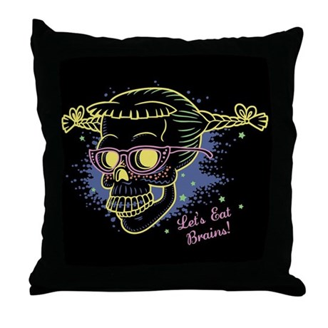 Geek Girl Zombie Skull! Throw Pillow