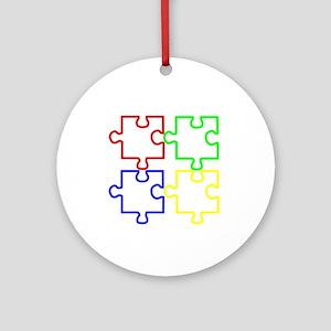 Autism Awareness Puzzles Ornament (Round)