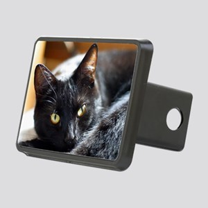 Sleek Black Cat Rectangular Hitch Cover