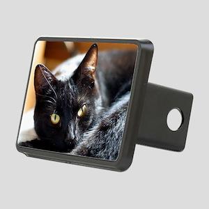 Sleek Black Cat Rectangular Hitch Cover