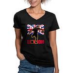 Soccer 2012 London Women's V-Neck Dark T-Shirt