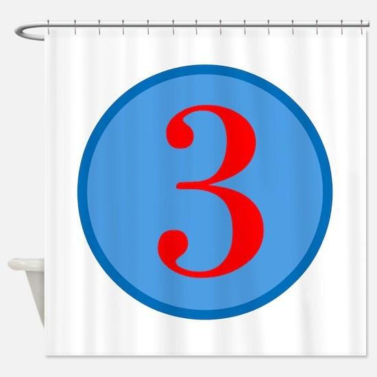 Number Three Birthday Shower Curtain