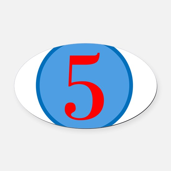 Number Five Birthday Oval Car Magnet