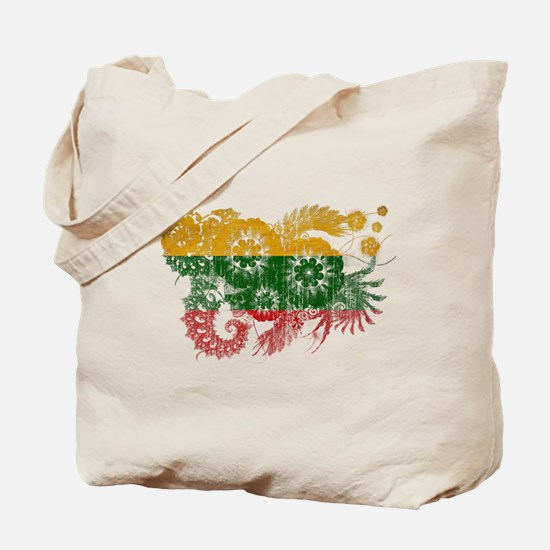 Lithuania textured flower aged copy.png Tote Bag
