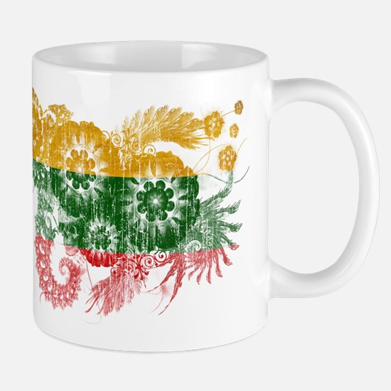 Lithuania textured flower aged copy.png Mug