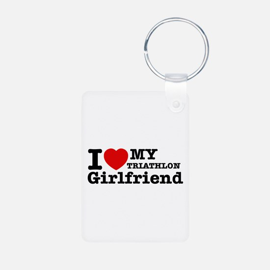 Cool Triathlon Girlfriend designs Keychains