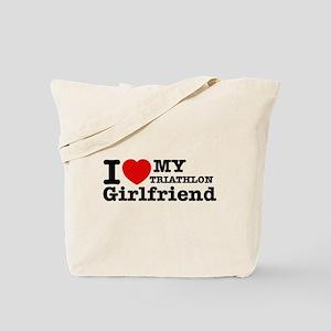 Cool Triathlon Girlfriend designs Tote Bag