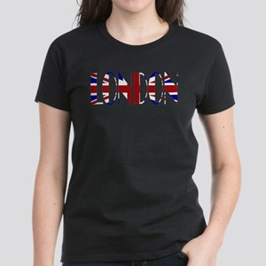 London Union Jack Lettered Women's Dark T-Shirt