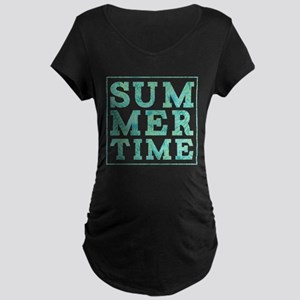 Summertime Print Maternity Dark T-Shirt