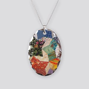 Tumbling Block Patchwork Quilt Necklace Oval Charm