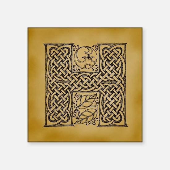 "Celtic Letter H Square Sticker 3"" x 3"""