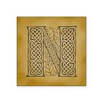 Celtic Letter N Square Sticker 3