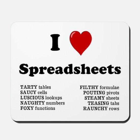 I Love Spreadsheets Rude Mousepad