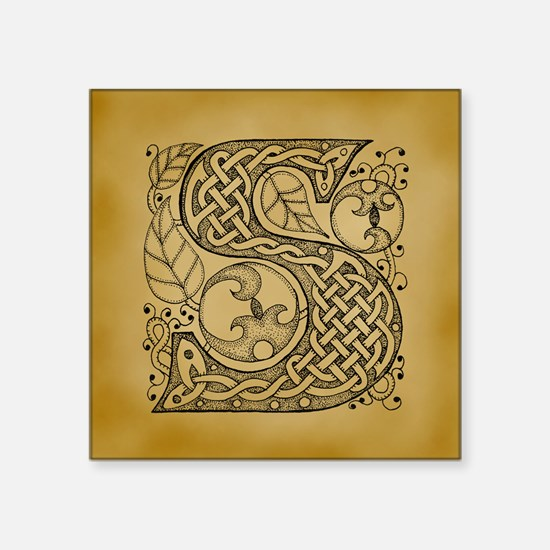 "Celtic Letter S Square Sticker 3"" x 3"""
