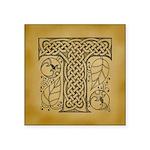 Celtic Letter T Square Sticker 3