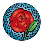 Celtic Rose 'Stained Glass' Round Car Mag