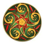 Celtic Pentacle Spiral Round Car Magnet