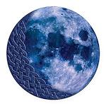 Celtic Blue Moon Round Car Magnet