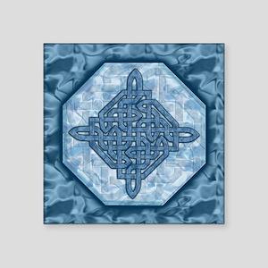 "Celtic Diamond Aqua Square Sticker 3"" x 3"""