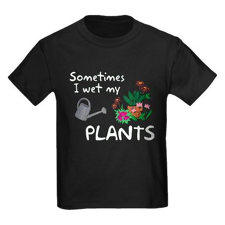I Wet My Plants Kids Dark T-Shirt