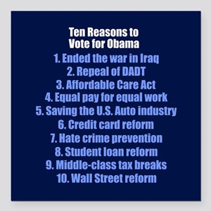 "10 Reasons for Obama Square Car Magnet 3"" x 3"""
