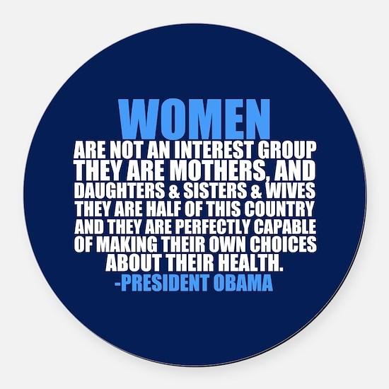 Obama on Women Round Car Magnet