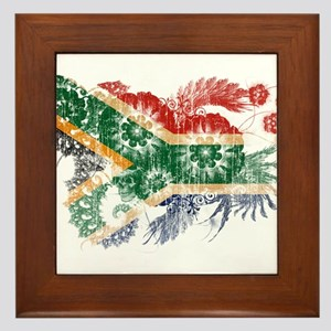 South Africa textured flower aged copy Framed